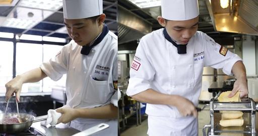 獲一銀一銅的廖仁閎(左)賽前除了練習廚藝,也透過書籍尋找設計創意;獲得銀牌的張睿宏(右)認為,透過比賽與各國廚師切磋,能讓實力更上層樓。