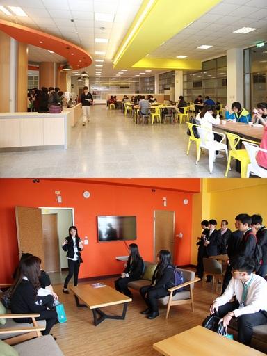 中信金融管理學院與CIA中信國際實驗教育機構在校內打造歐式自助餐廳用餐環境,並於宿舍每層樓設置交誼廳,營造溫馨居住交流空間