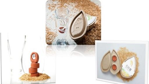 世界首創專利隨身環保淨水石,包裝盒象徵從有機米到乾淨好水的正向循環
