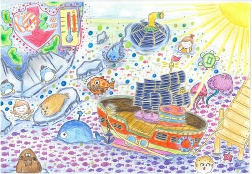 繪畫類低年級第1名新竹縣六家國小易芷緰作品 綠能船奇