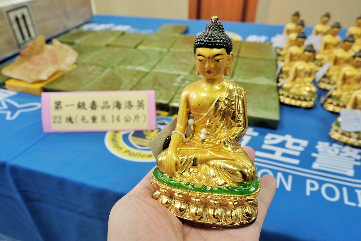 Buddha statues packed in heroin