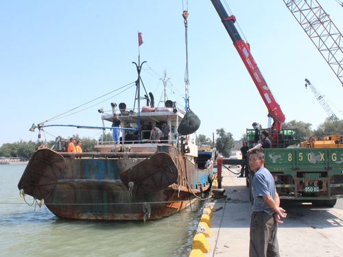The seized Chinese fishing boat.