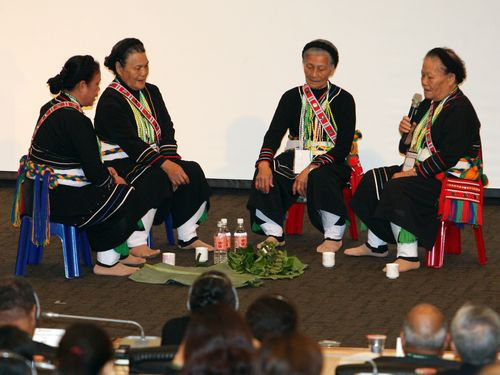 Tribal elders perform blessing ritual before the conference begins.