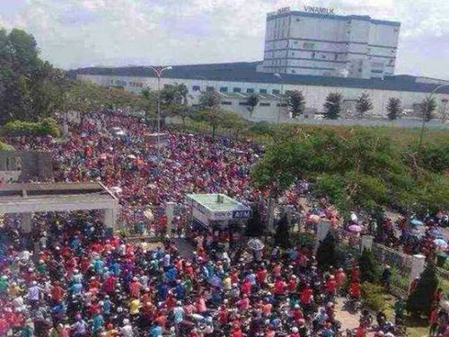 Protesters break into a factory. (Photo courtesy of Vietnam-based Taiwanese businessmen)
