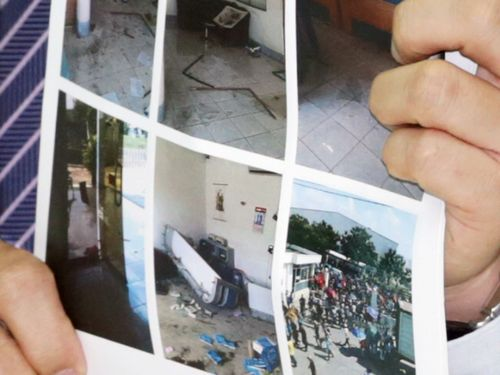 Photos showing damages at Taiwanese factories in Vietnam.
