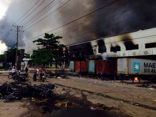 One of the Taiwanese factories in Binh Duong, southern Vietnam, that were set on fire in Anti-China riots Tuesday