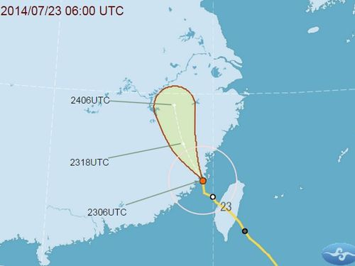 The forecast track of Typhoon Matmo at 2 p.m. Wednesday. (From the Central Weather Bureau website)