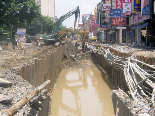 Flooding remains in blast-affected area in Kaohsiung on Aug. 16.