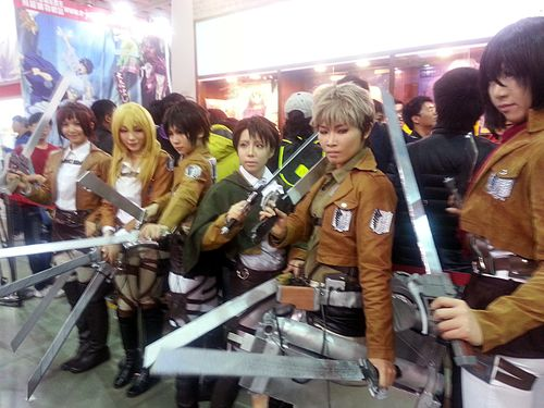 Attack on Titan cos-players in Taipei. CNA file photo