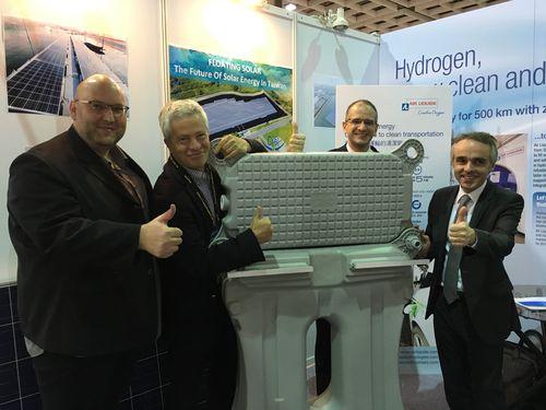Philippe Deschamps of Ciel & Terre (second left), Cedric Jaeg of Ciel & Terre Taiwan (left) and Benoit Guidee, France