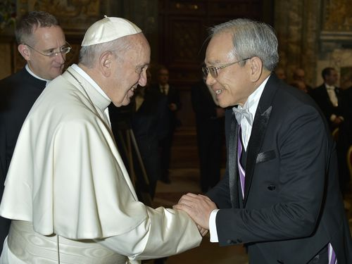 Holy See Matthew S.M. Lee (right) and Pope Francis (CNA file photo)