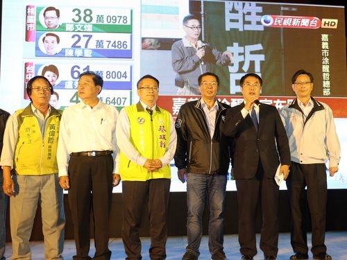Huang Wei-che (黃偉哲, second right)