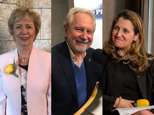 Canadian Foreign Minister Chrystia Freeland (right), Senator Peter Harder (center), and MP Judy Sgro (left) / Right image taken from facebook.com/freelandchrystia center image taken from twitter.com/senharder、and left image taken from facebook.com/GoWithSgro