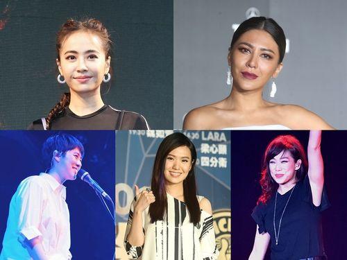 Jolin Tsai , Eve Ai,Sandy Lam,Shi Shi and Yoyo Sham (clockwise from up left )