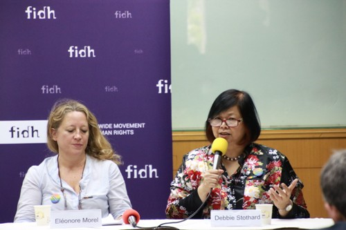 FIDH Secretary-General Debbie Stothard (right)