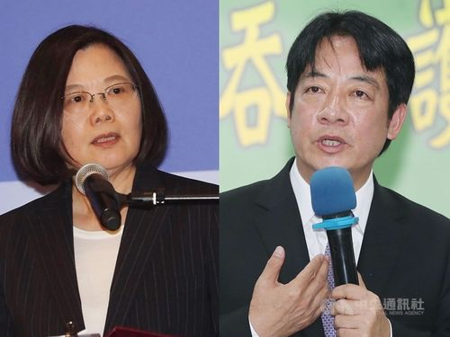 President Tsai Ing-wen (left) and former Premier Lai Ching-te compete for the DPP