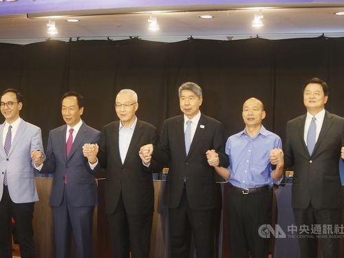 Left to Right: Eric Chu, Terry Gou, KMT Chairman Wu Den-yih, Chang Ya-chung, Han Kuo-yu and Chou Hsi-wei