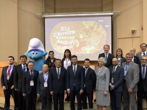 Fatima Ali (back row, beside the Smurf mascot)