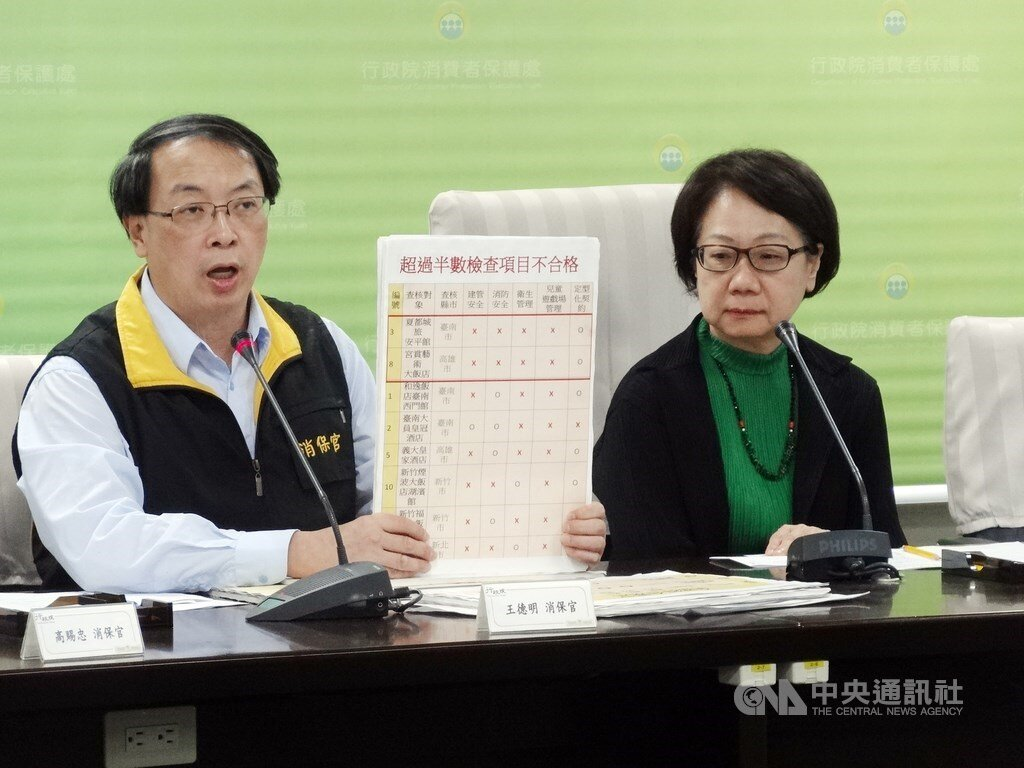 Consumer protection officer Wang Te-ming (王德明, left) unveils results of an inspection of child-friendly hotels.