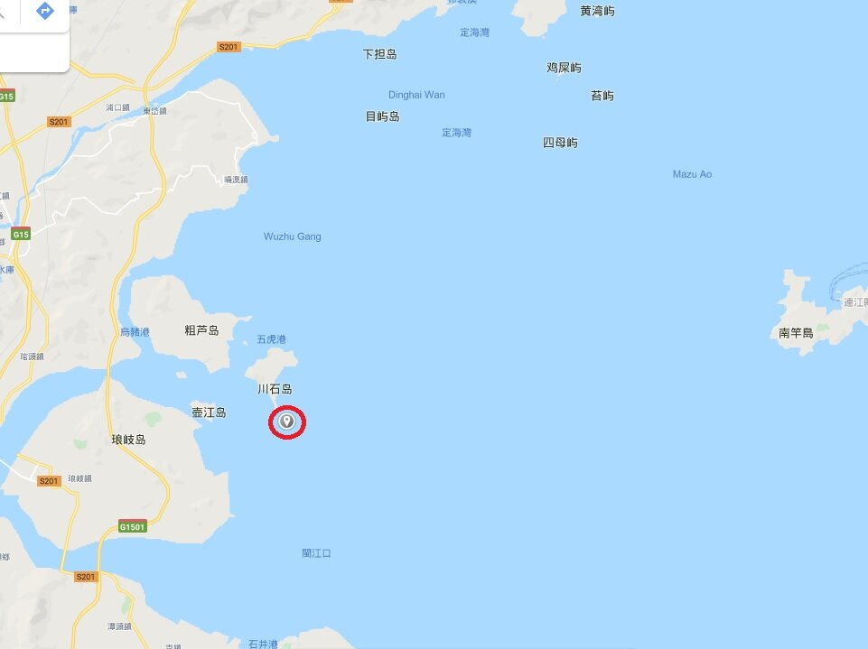 Google Map image of the capsized Kaohsiung-registered ship