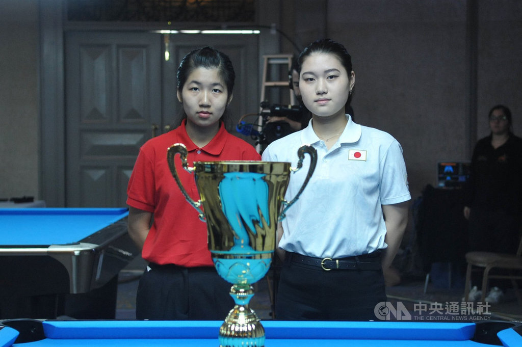 Taiwanese pool player Lu Yi-hsuan (left) clinches the girls U/19 title Saturday at the 2019 WPA Juniors Cyclop World 9-ball Championships in Nicosia, Cyprus.