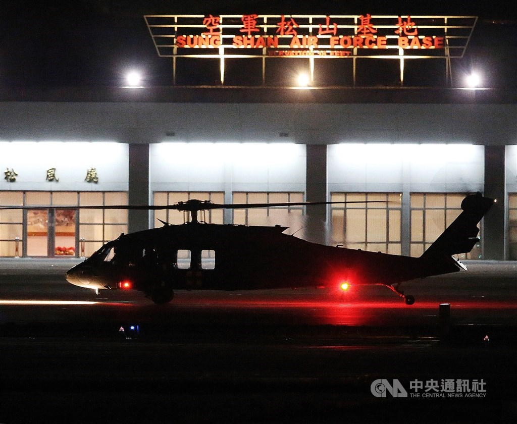 A Black Hawk helicopter seen at Songshan Air Force base