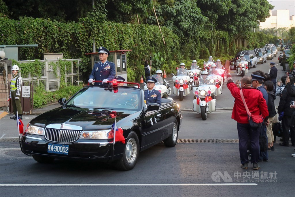 The motorcade begins at Tri-Service General Hospital in Taipei at 5 p.m. Monday.