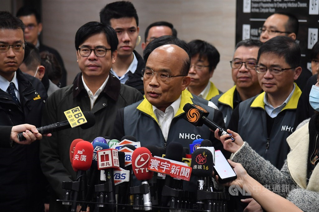 Premier Su Tseng-chang speaks to reporters at the Central Epidemic Command Center on Wednesday