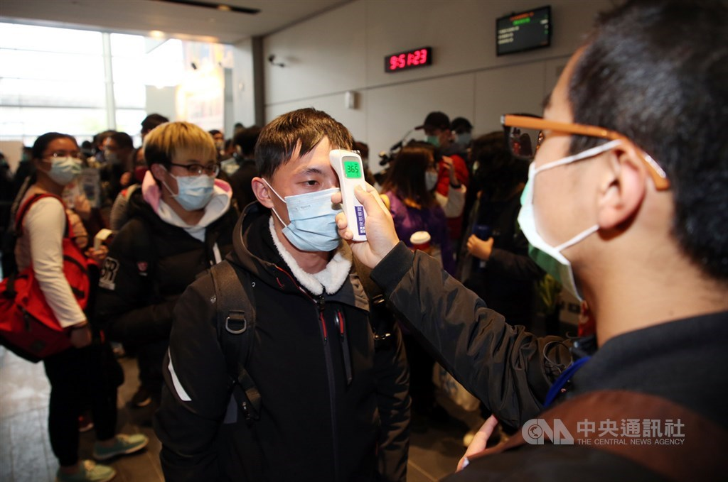 A visitor gets his temperature checked before entering the 2020 Taipei International Comics and Animation Festival