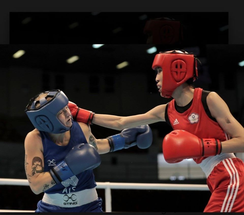 Huang Hsiao-wen (黃筱雯, right)/Photo courtesy of the Chinese Taipei Boxing Association