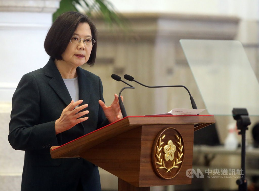 President Tsai Ing-wen speaking at the Presidential Office Building.