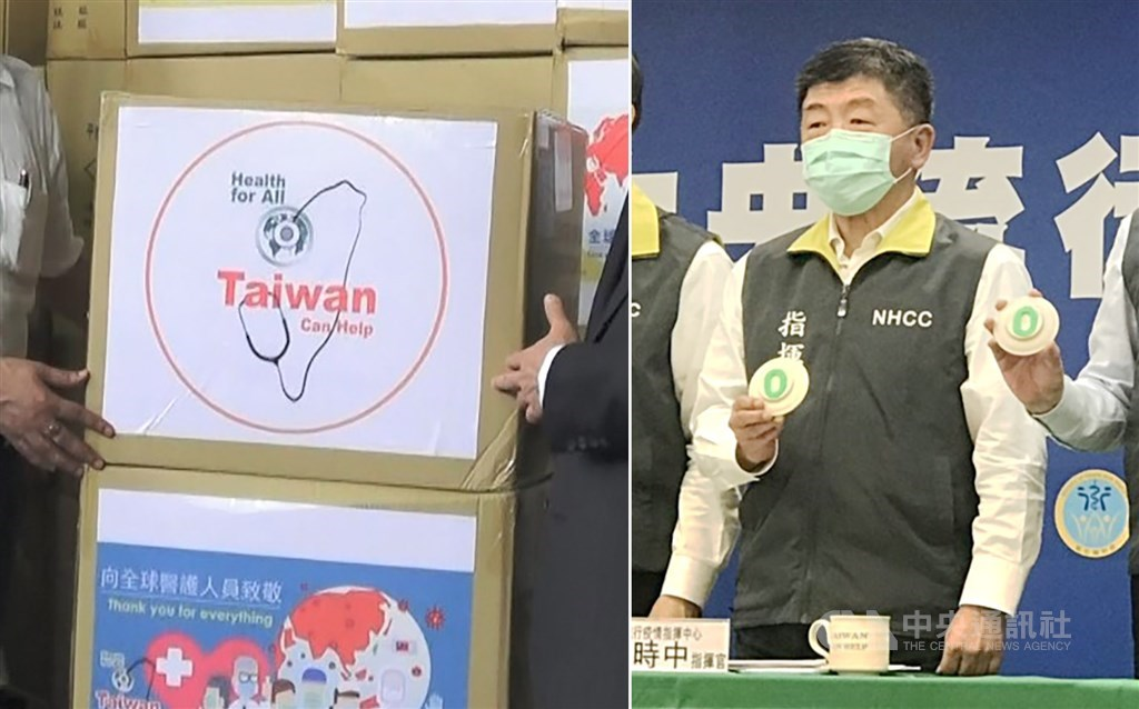 """""""Taiwan Can Help"""" labels (left) and Health Minister Chen Shih-chung / CNA file photos"""