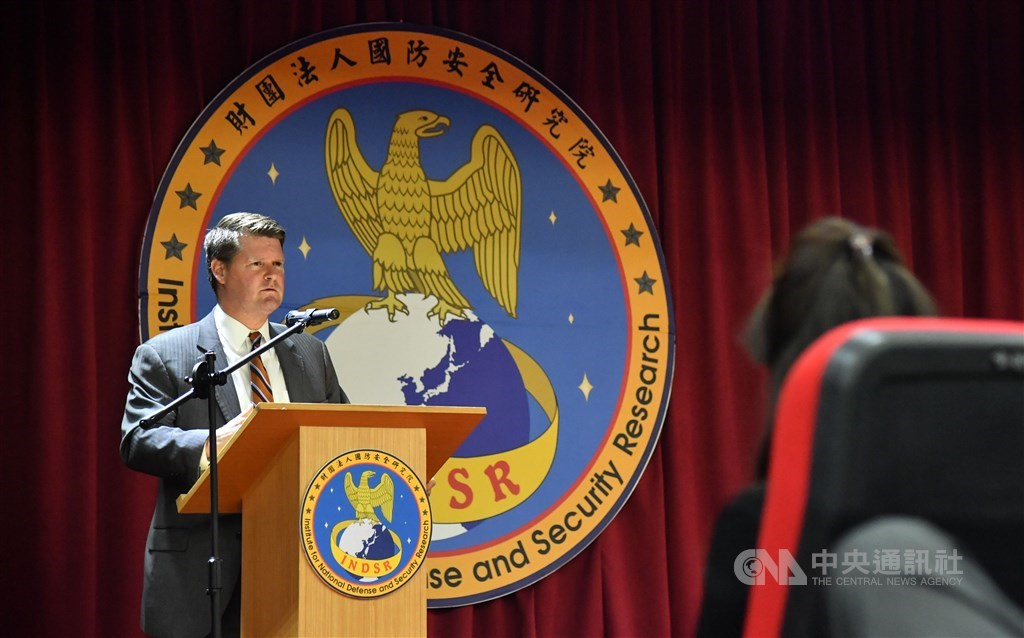 Randall G. Schriver gives a speech during his visit to Taiwan in February. / CNA file photo