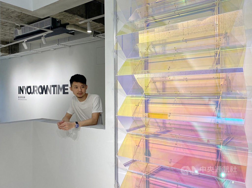"Artist Kou Tak Leong stands by his work ""Light Zone."""