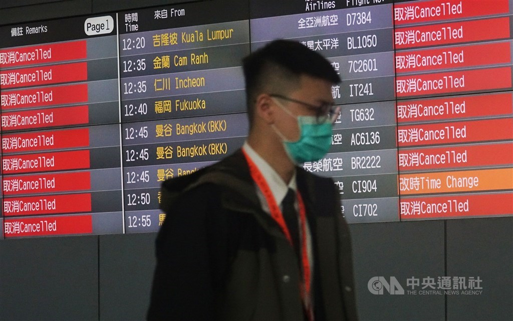 A large numbers of flights are canceled at Taiwan Taoyuan International Airport, and the situation has remained so as of press time. CNA file photo