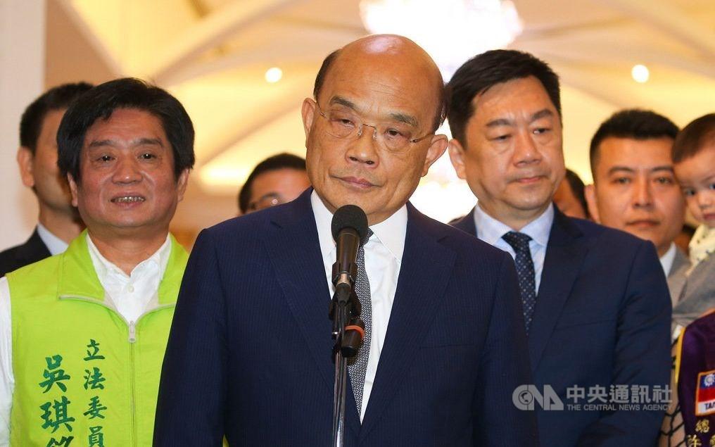 Premier Su Tseng-chang (center). CNA photo July 24, 2020
