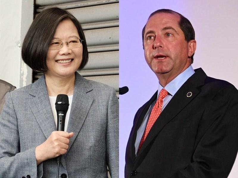 Taiwan President Tsai Ing-wen (left) and U.S. HHS Secretary Alex Azar (right) (Tsai: CNA file photo; Azar: image taken from facebook.com/HHS)