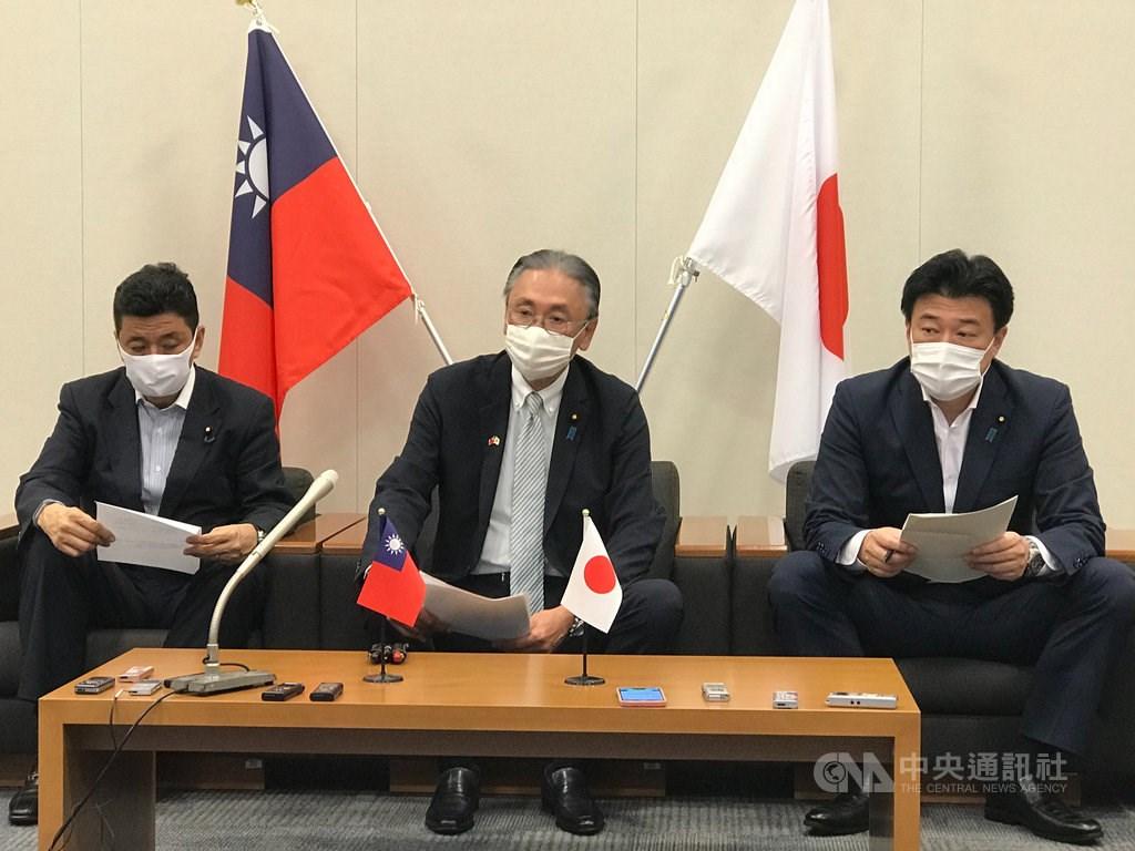 From left to right: Nobuo Kishi, Keiji Furuya and Minoru Kihara. CNA photo Aug. 7, 2020