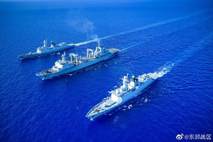 A previous military exercise by the PLA Eastern Theater Command (photo taken from weibo.com/u/7483054836)
