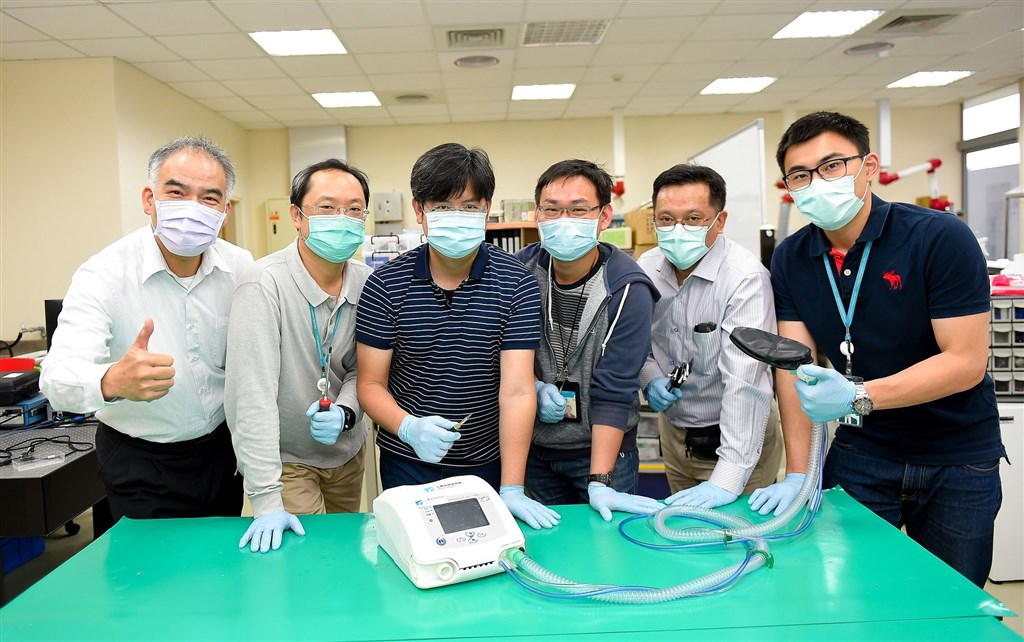 Researchers at the Industrial Technology Research Institute (ITRI) with the ventilator/ Photo courtesy of the ITRI