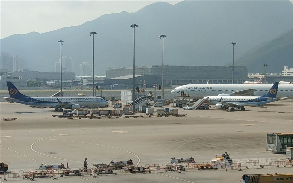 Two Mandarin Airlines E-190 jets pictured at Hong Kong International Airport. CNA file photo