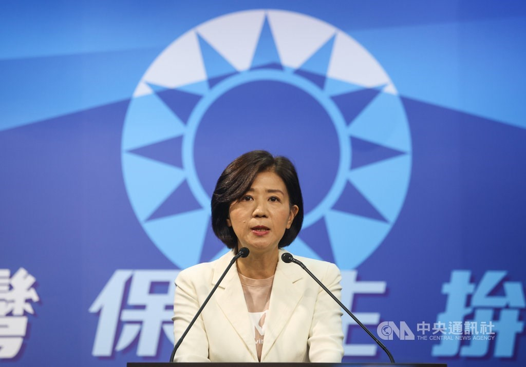 KMT Culture and Communications Committee Chairwoman Wang Yu-min (王育敏) in a statement on Friday / CNA photo Sept. 11, 2020