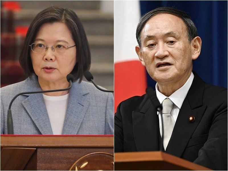 President Tsai Ing-wen (left) and Japanese Prime Minister Yoshihide Suga (right)/CNA, Kyodo News file photos