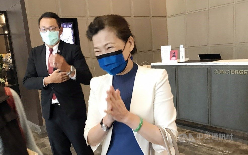 Minister of Economic Affairs Wang Mei-hua (front) is pictured after the closed-door meeting. CNA photo Sept. 18, 2020