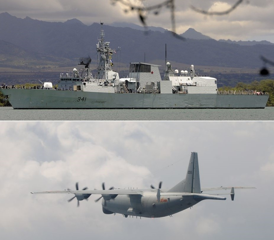 Above picture shows the HMCS Ottawa, which was observed sailing into the Taiwan Strait last year (image taken from Wikimedia) / (Bottom picture) A Chinese Shaanxi Y-8 anti-submarine aircraft spotted on Saturday. Photo courtesy of the MND