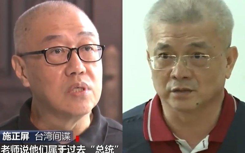 Shih Cheng-ping (left) and Tsai Chin-shu on CCTV. Photo from weibo.com/cctvxinwen