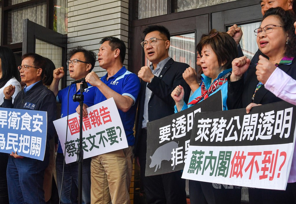 Members of the KMT, including Chairman Johnny Chiang (fourth from left), protest the decision in front of the Legislative Yuan. CNA photo Oct. 27, 2020