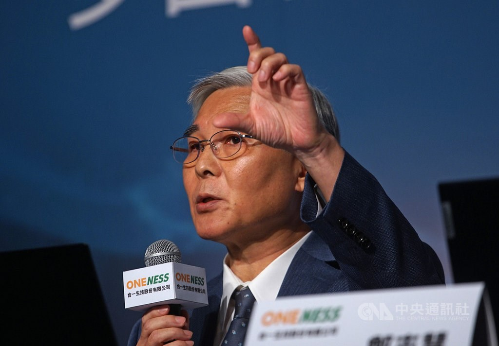 Lu Kung-ming, chairman of the Microbio Group that owns Oneness Biotech Co., at a press conference. CNA file photo June 15, 2020