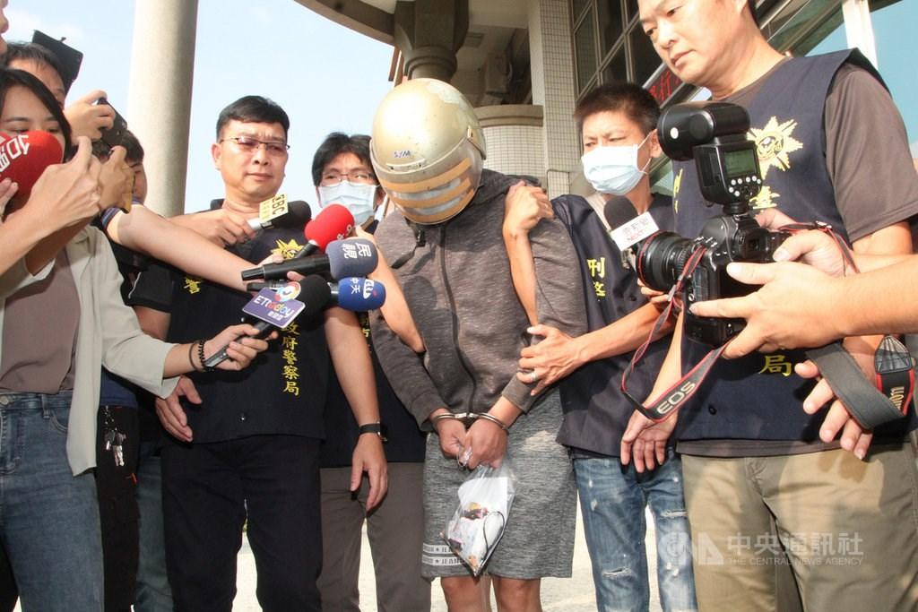 The suspect (in helmet). CNA photo Oct. 30, 2020