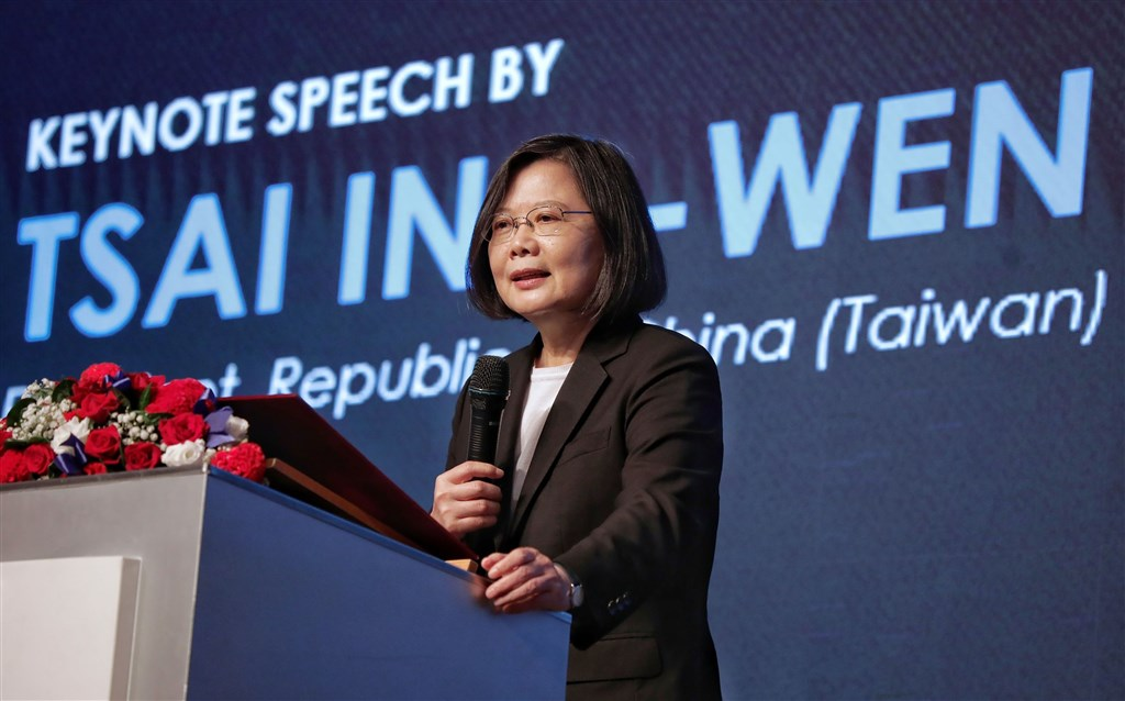 President Tsai Ing-wen speaks at the American Chamber of Commerce (AmCham) in Taipei